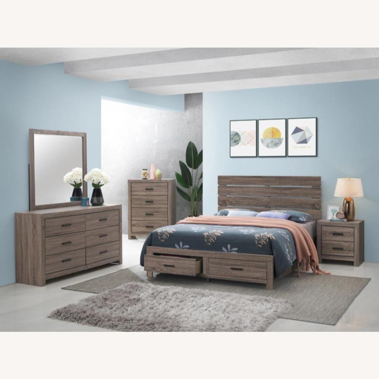 King Bed In Barrel Oak Finish W/ Storage Drawers - image-1