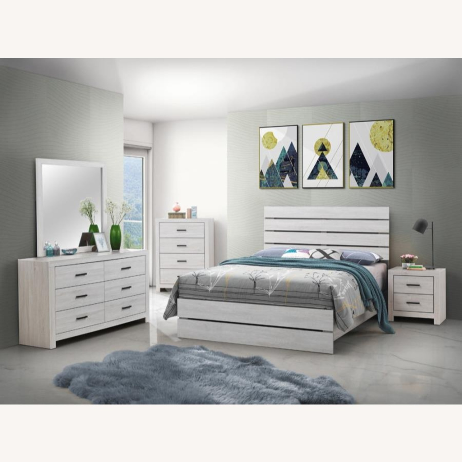 King Bed In Coastal White W/ 3D Paper Laminate - image-2
