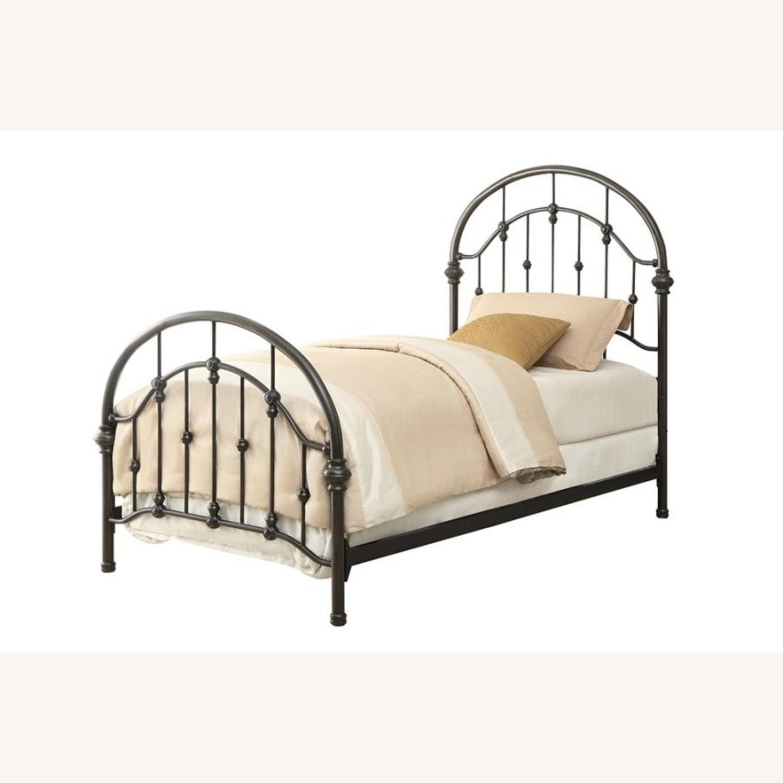 Twin Bed In Canopy Design Dark Bronze Finish - image-0