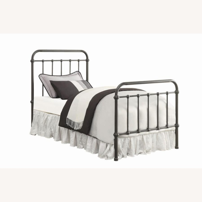 Twin Bed In Dark Bronze Heavy Gauge Steel Finish - image-0