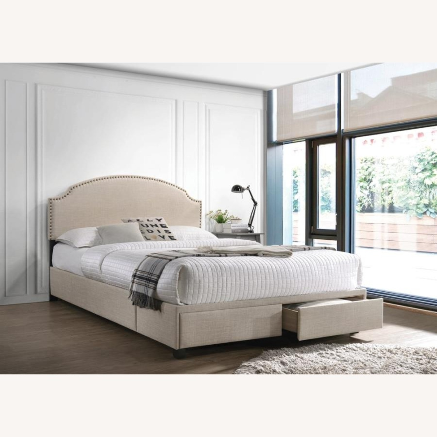 King Bed In Beige Fabric W/ 2 Storage Drawers - image-2