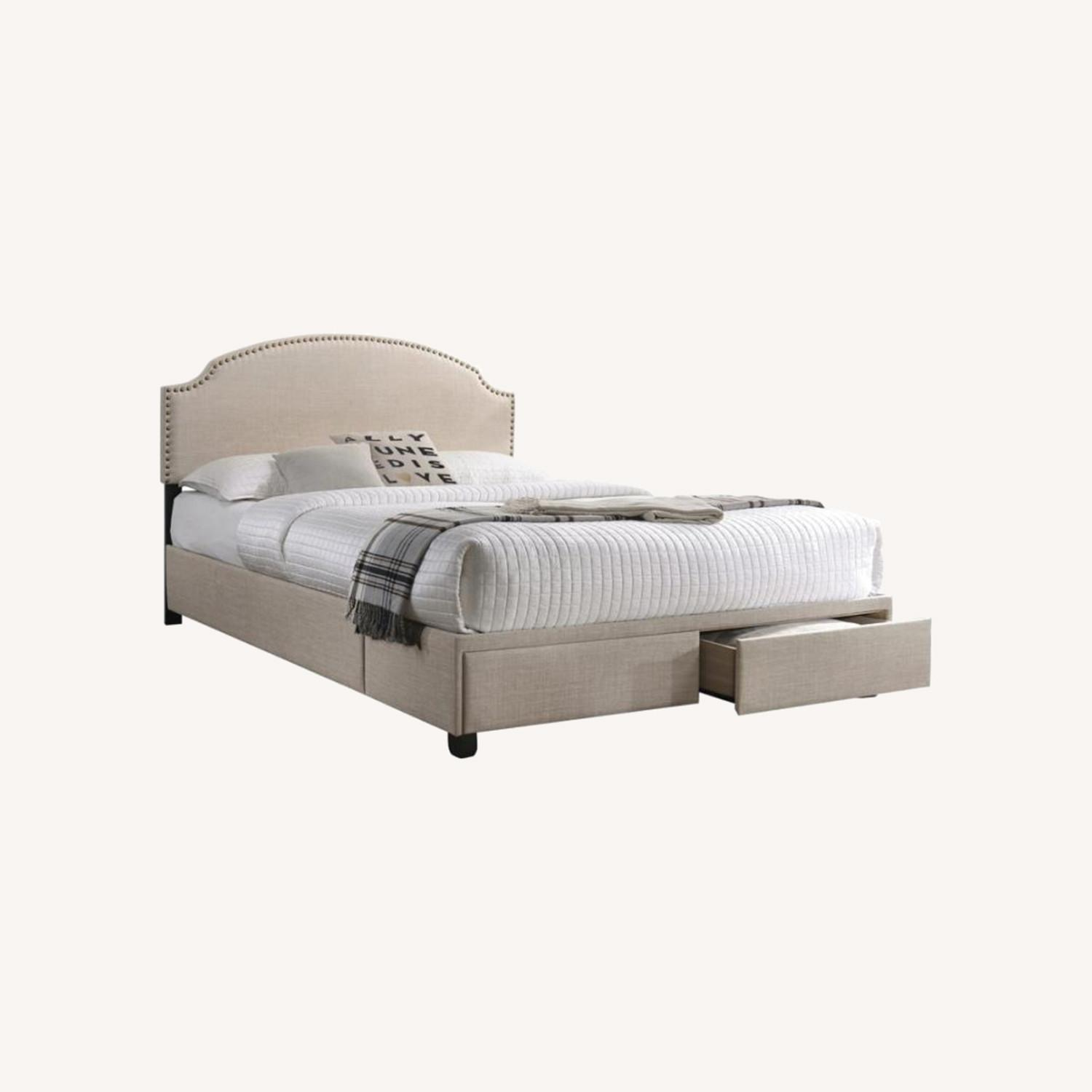 King Bed In Beige Fabric W/ 2 Storage Drawers - image-4