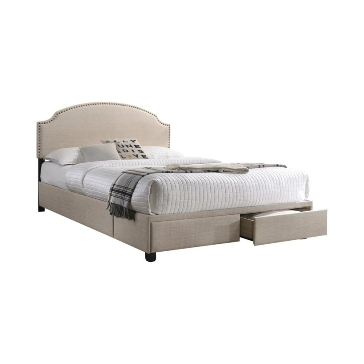 King Bed In Beige Fabric W/ 2 Storage Drawers - image-0