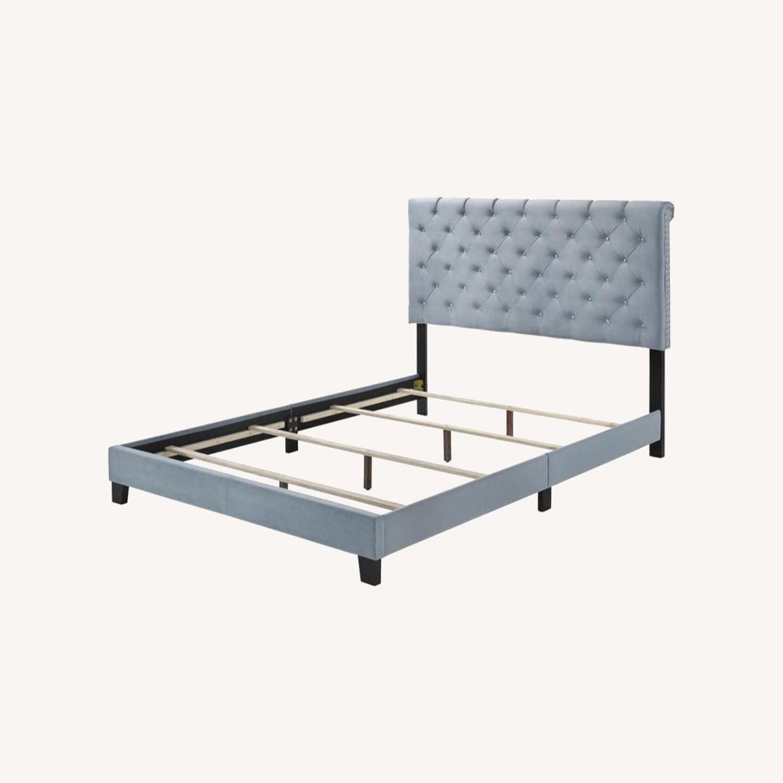 Full Bed In State Blue Velvet Upholstery Finish - image-5