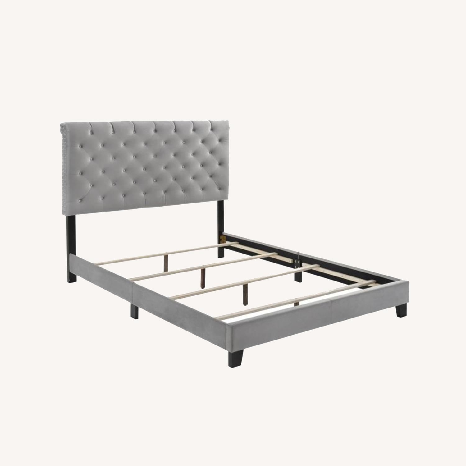 Transitional Style Queen Bed In Grey Velvet Fabric - image-5