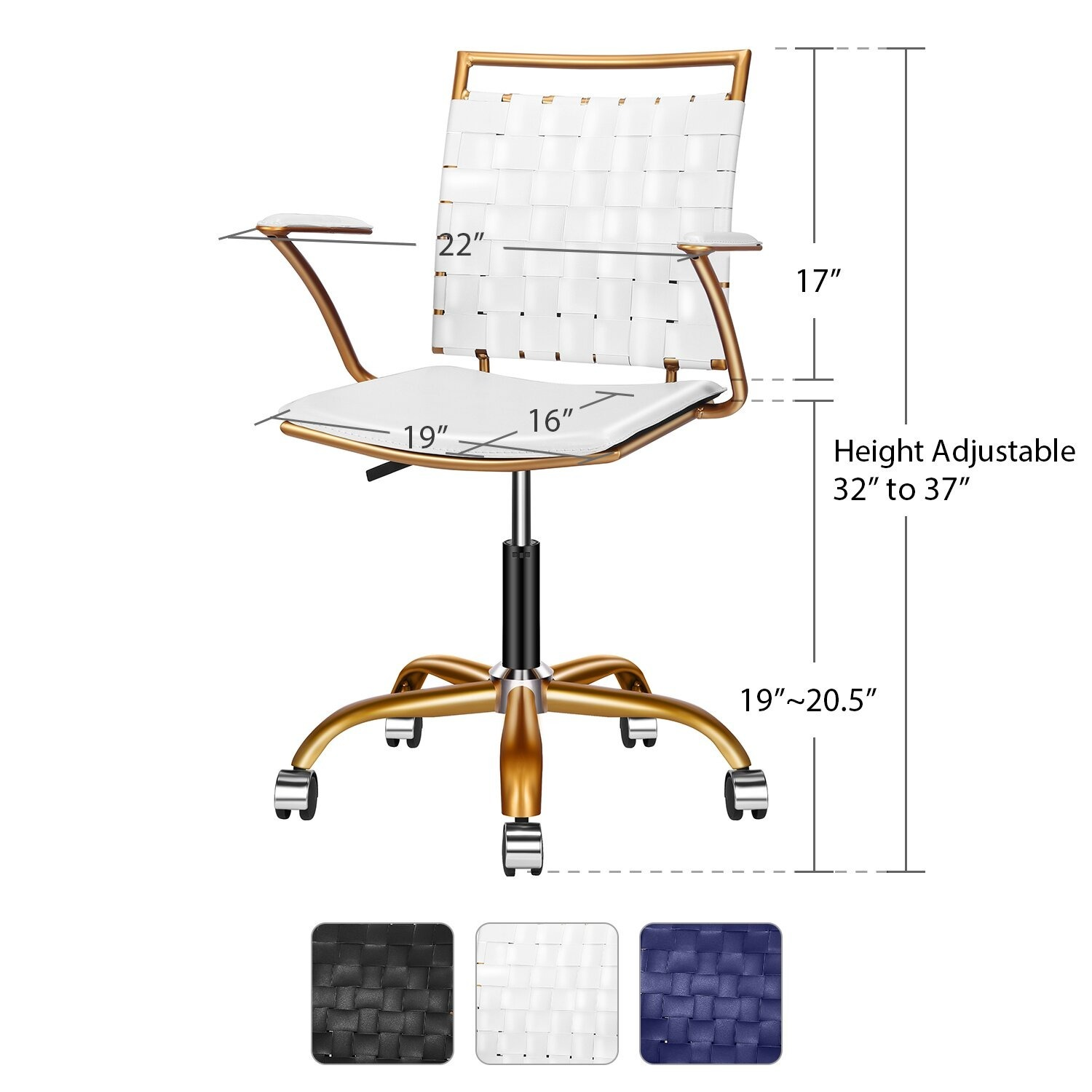 Wayfair Woven White and Gold Desk Chair - image-2