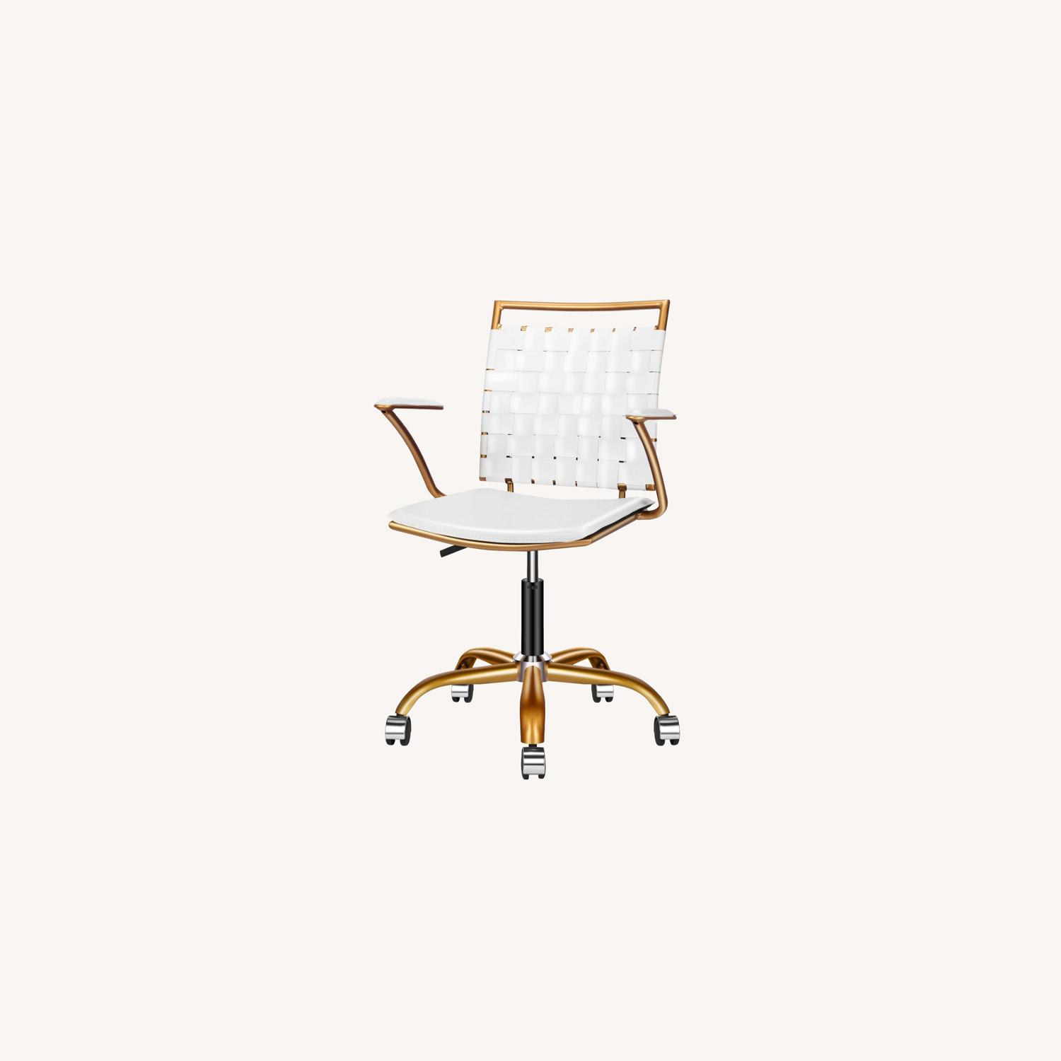 Wayfair Woven White and Gold Desk Chair - image-0