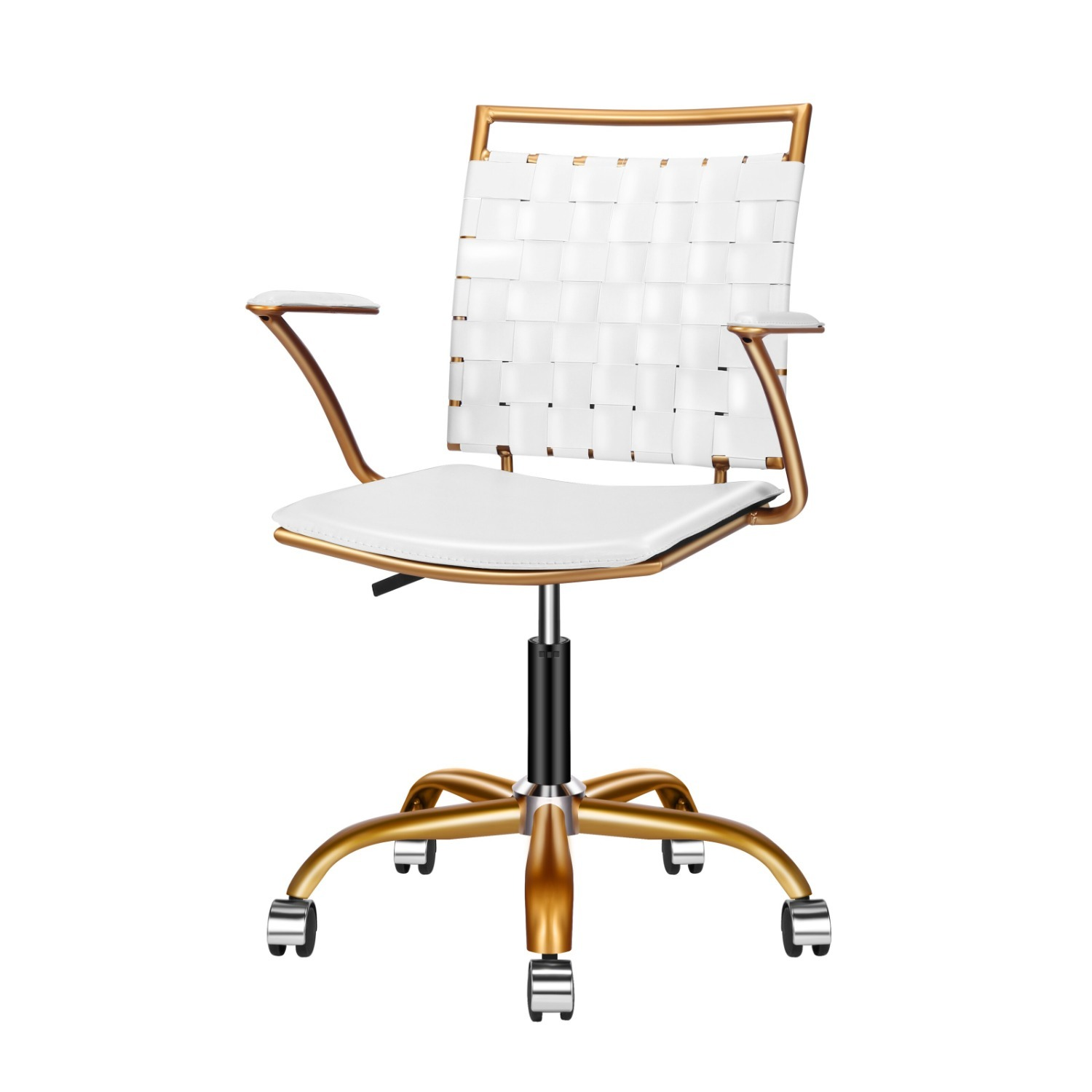 Wayfair Woven White and Gold Desk Chair - image-1