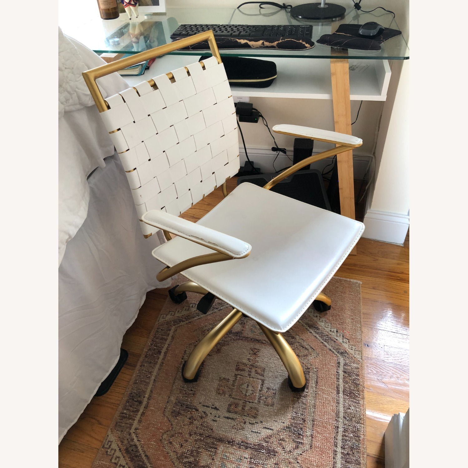 Wayfair Woven White and Gold Desk Chair - image-6