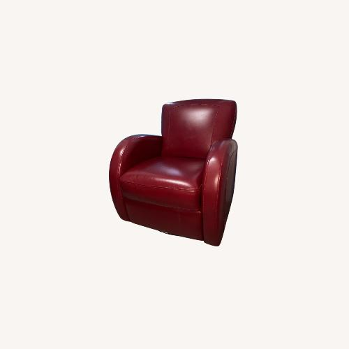 Used Bob's Discount Furniture Red Leather Accent Chair for sale on AptDeco