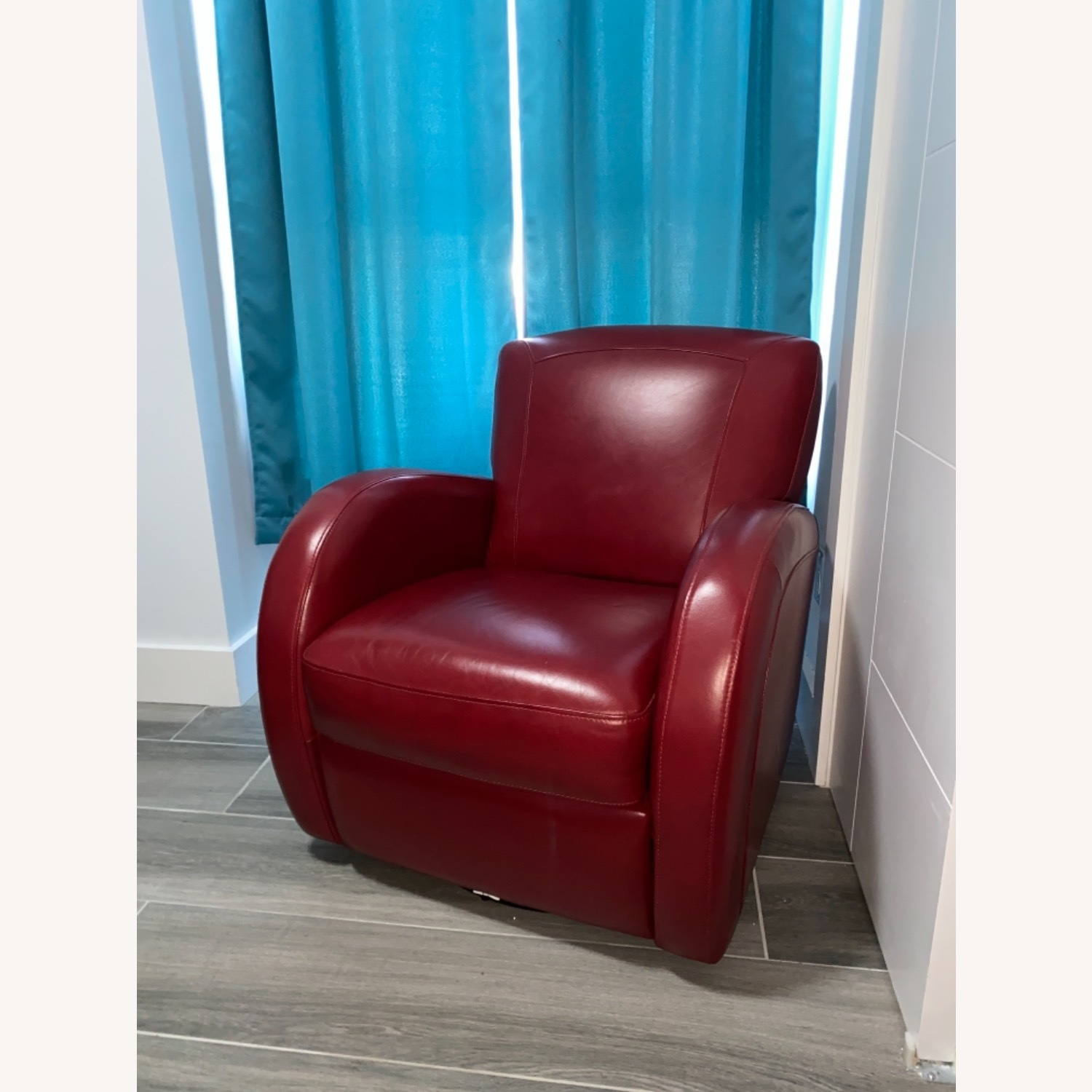 Bob's Discount Furniture Red Leather Accent Chair - image-1