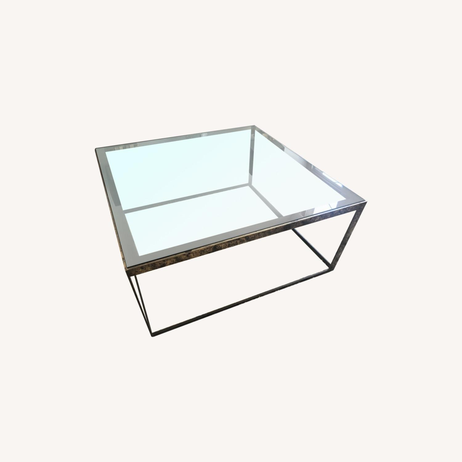 ABC Carpet and Home Brass and Tinted Glass Coffee Table - image-7