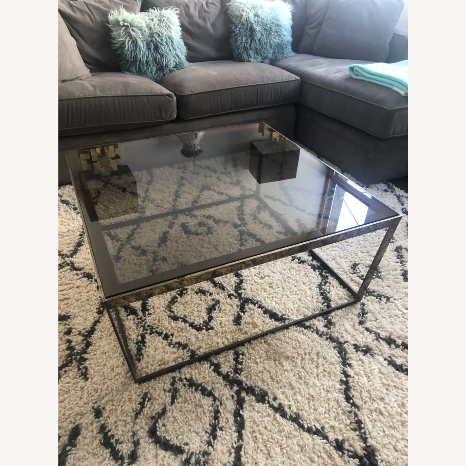 ABC Carpet and Home Brass and Tinted Glass Coffee Table - image-0