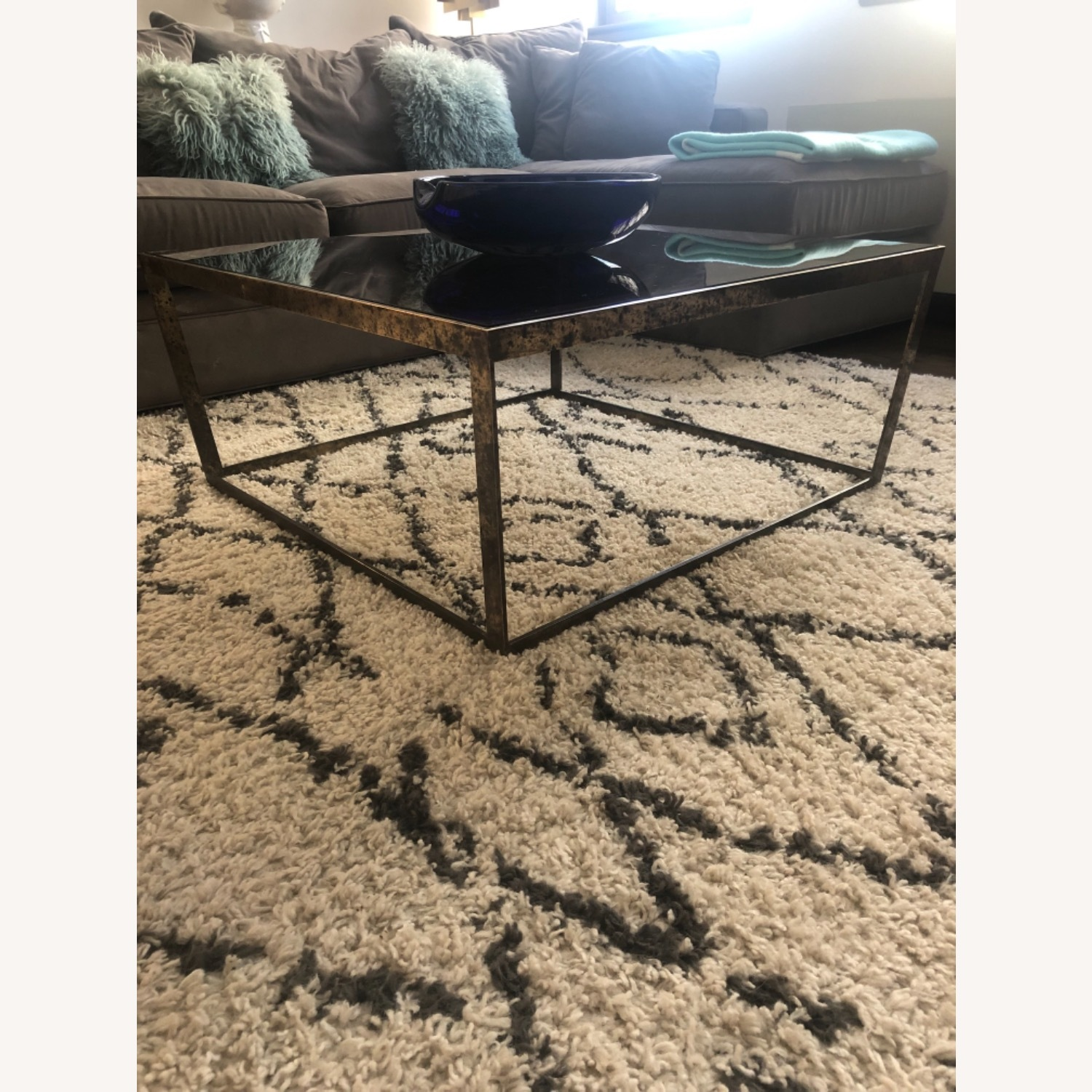 ABC Carpet and Home Brass and Tinted Glass Coffee Table - image-1