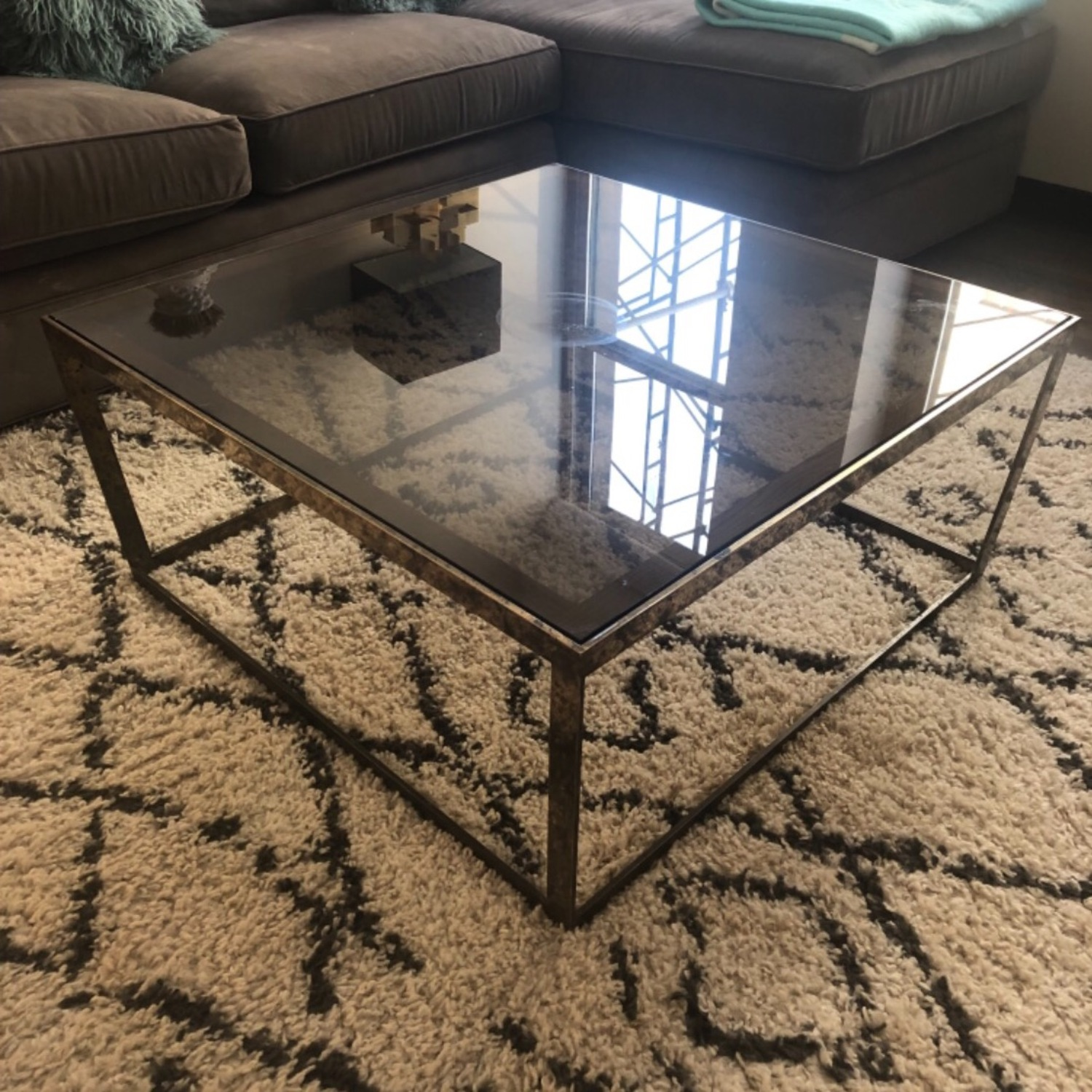 ABC Carpet and Home Brass and Tinted Glass Coffee Table - image-6