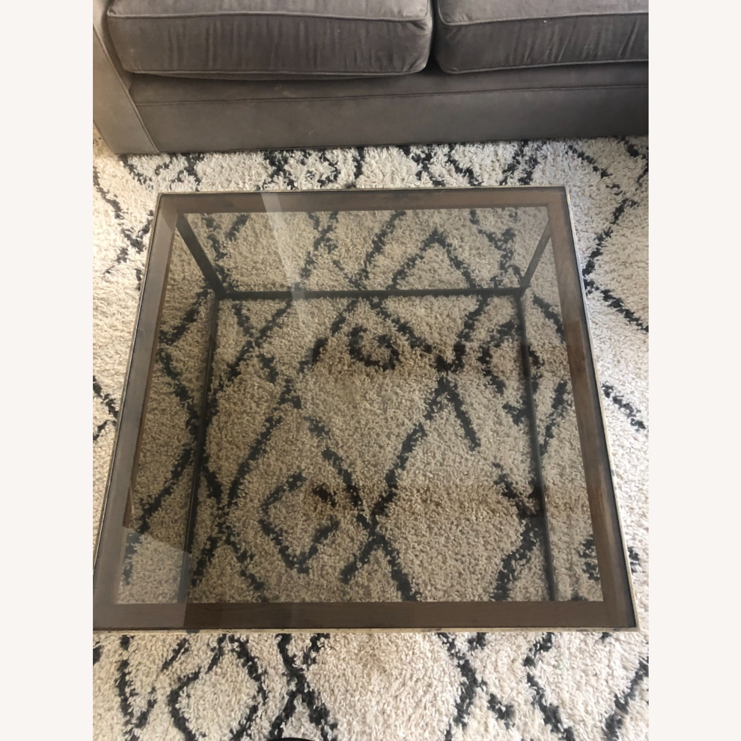 ABC Carpet and Home Brass and Tinted Glass Coffee Table - image-2