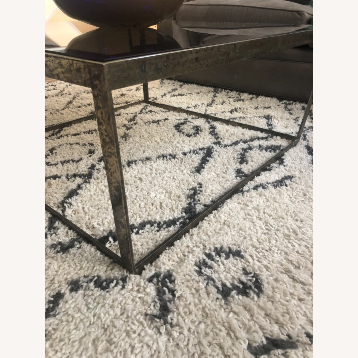 ABC Carpet and Home Brass and Tinted Glass Coffee Table - image-4