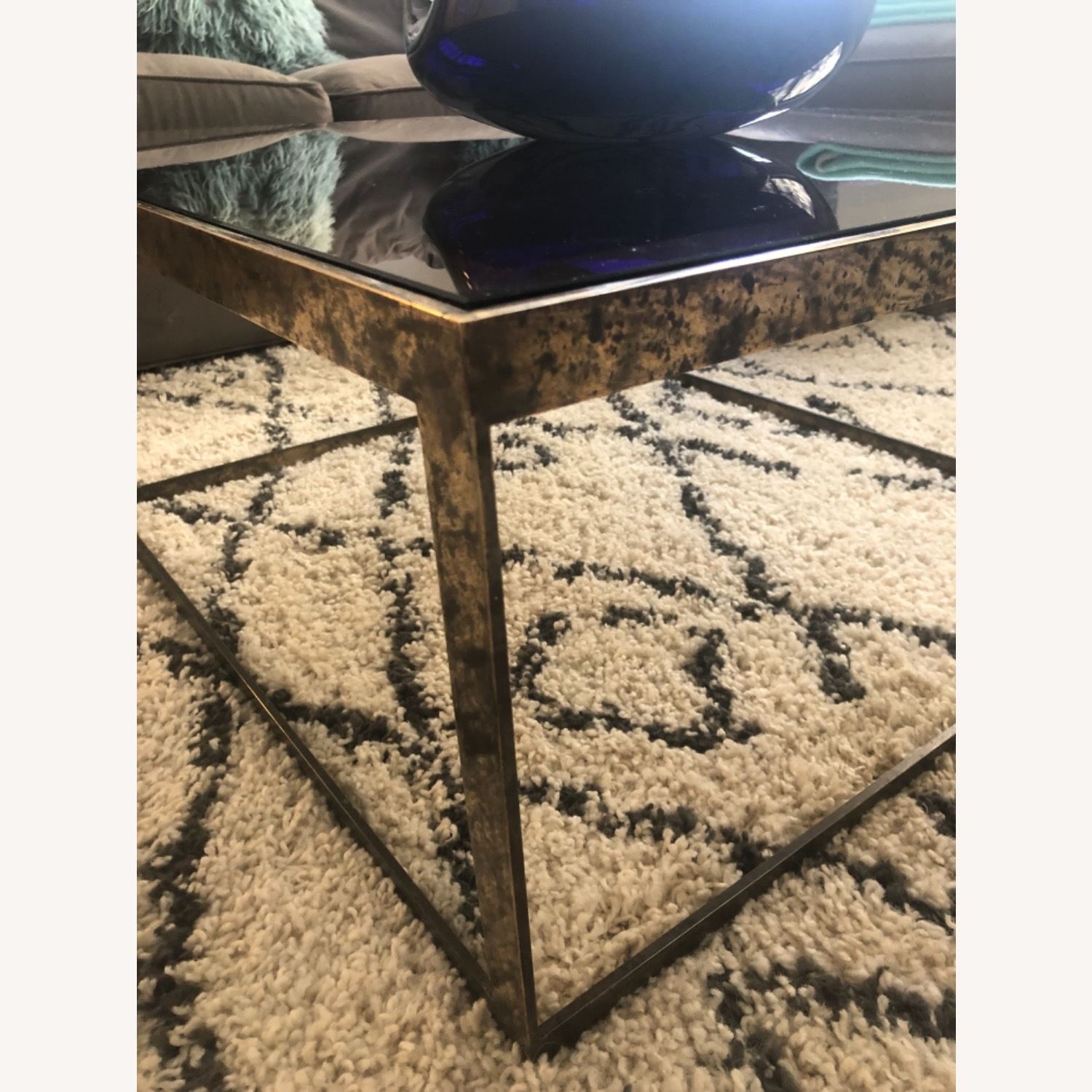ABC Carpet and Home Brass and Tinted Glass Coffee Table - image-3