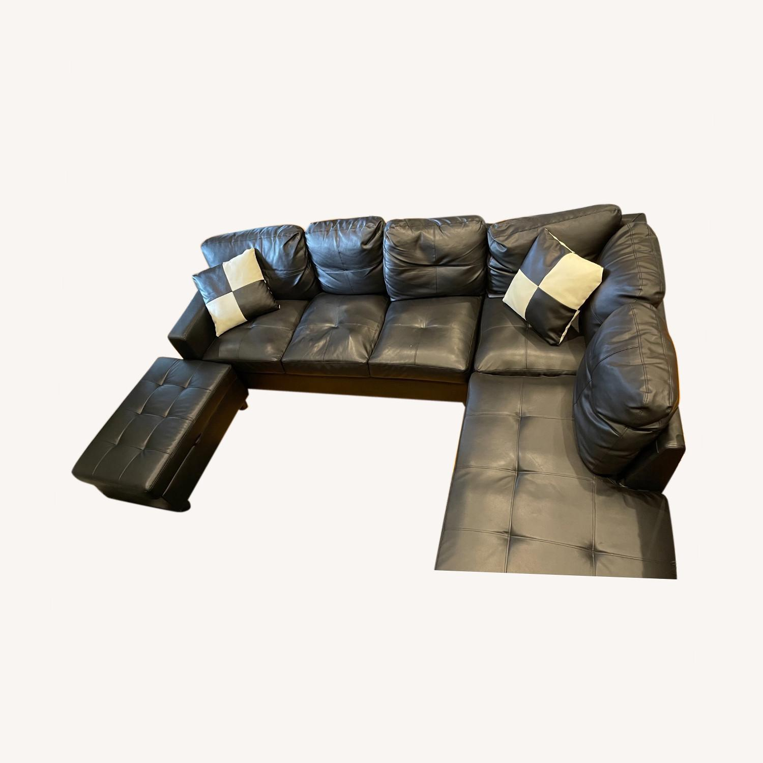 Andover Mills 103.5 Wide Faux Leather Sofa & Chaise - image-0