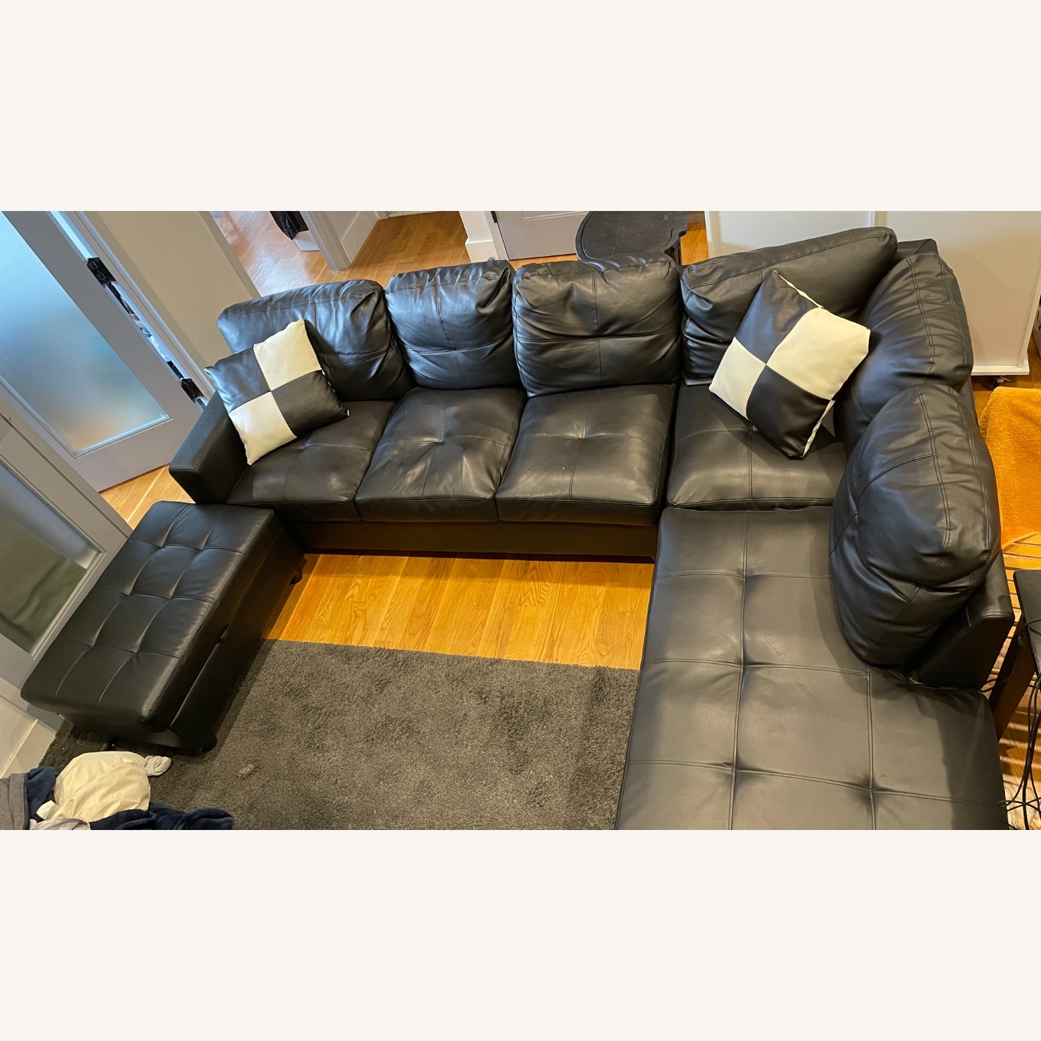 Andover Mills 103.5 Wide Faux Leather Sofa & Chaise - image-1