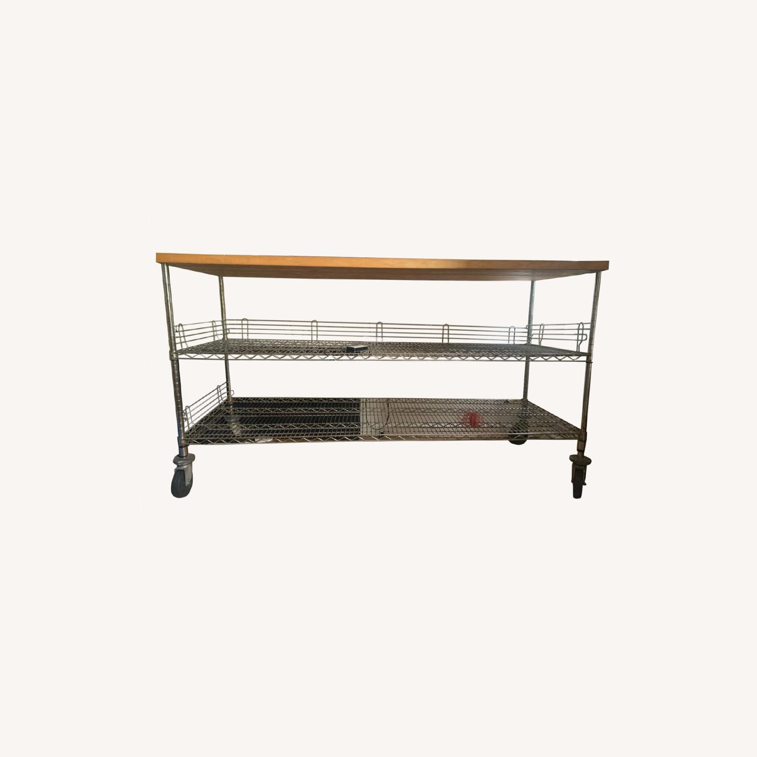Home Depot Rolling Workbench Wood Top - image-0