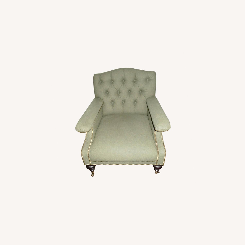Ralph Lauren Alfred Green Fabric Club Armchair - image-0