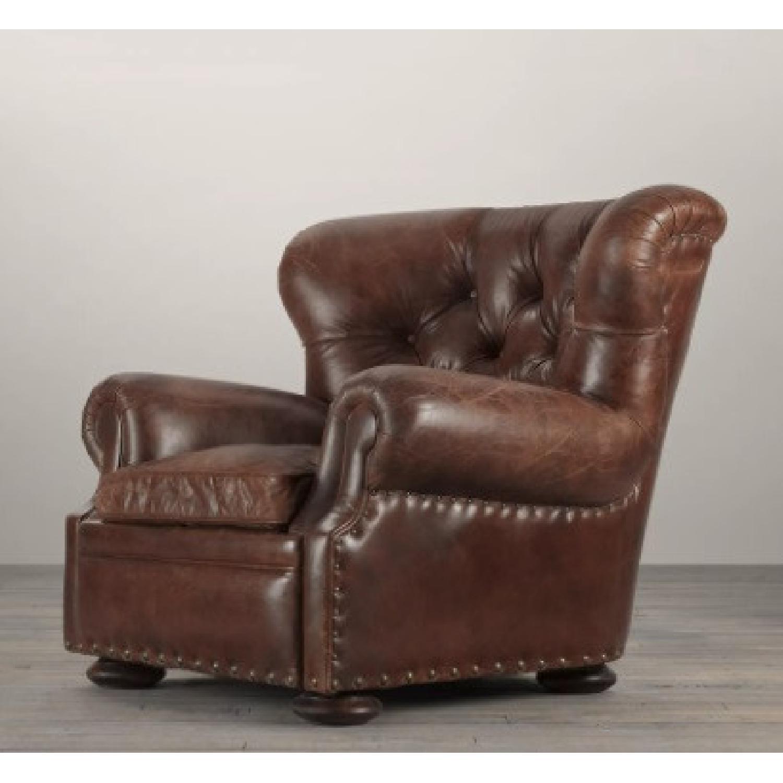 Restoration Hardware Churchill Leather Club Chair - image-0
