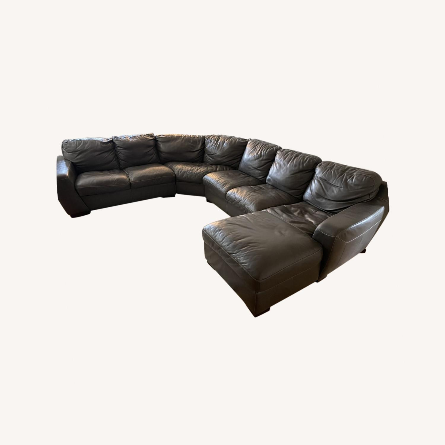 Raymour and Flanigan Leather Sectional Sofa - image-0