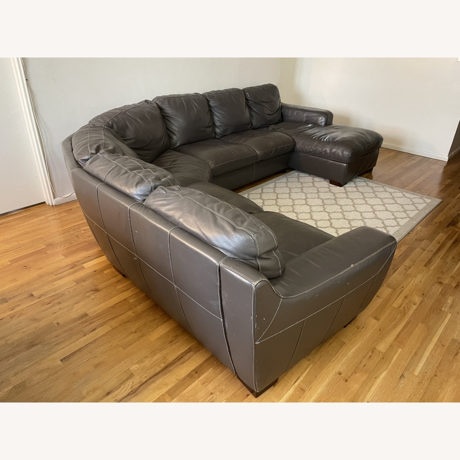 Raymour and Flanigan Leather Sectional Sofa - image-1