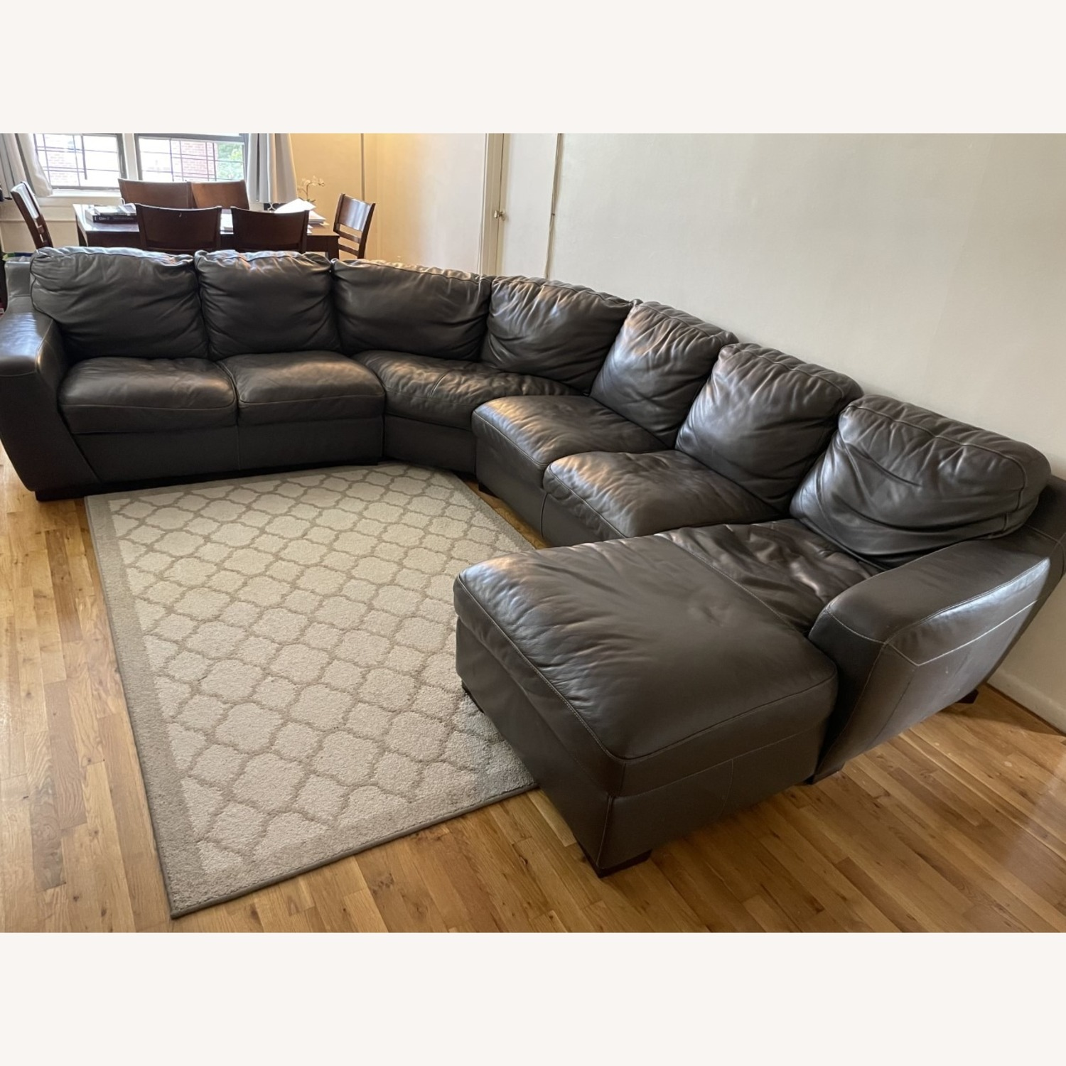 Raymour and Flanigan Leather Sectional Sofa - image-2