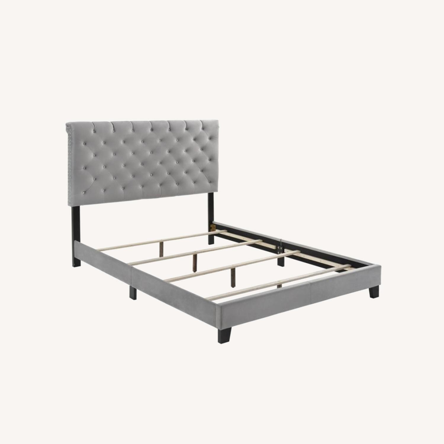 King Bed In Grey Velvet W/ Faux Crystal Button - image-5