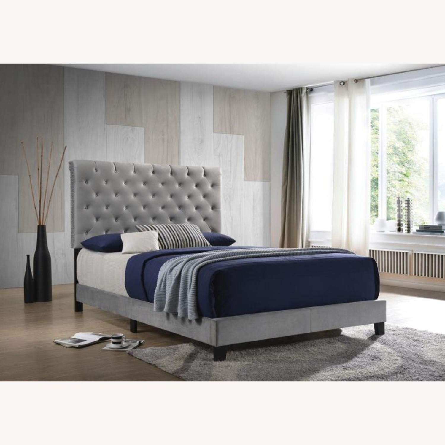 King Bed In Grey Velvet W/ Faux Crystal Button - image-3