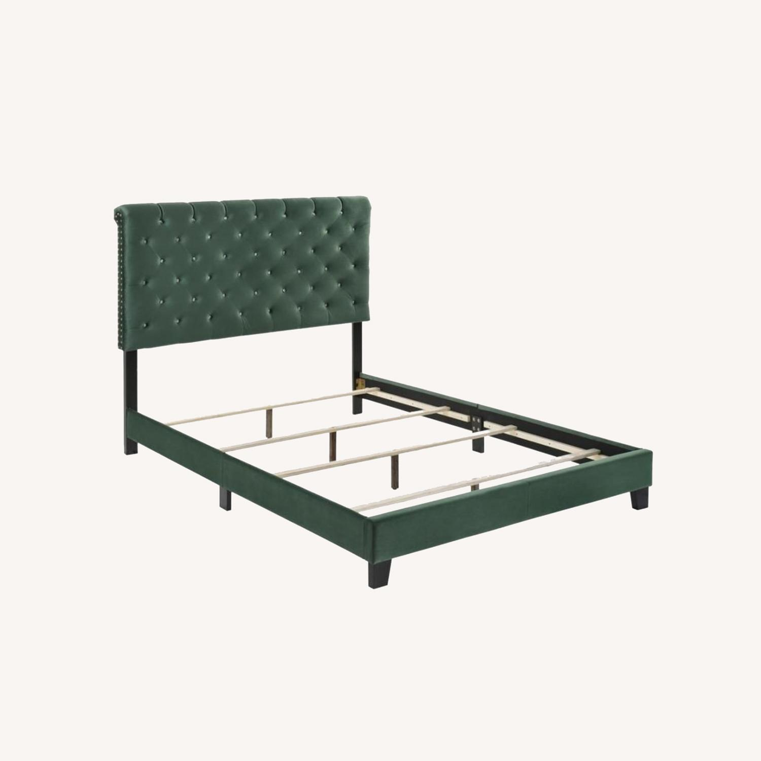 Queen Bed In Green Velvet W/ Faux Crystal Button - image-6