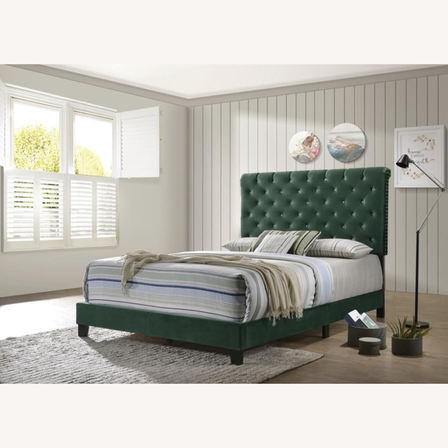 Queen Bed In Green Velvet W/ Faux Crystal Button - image-4