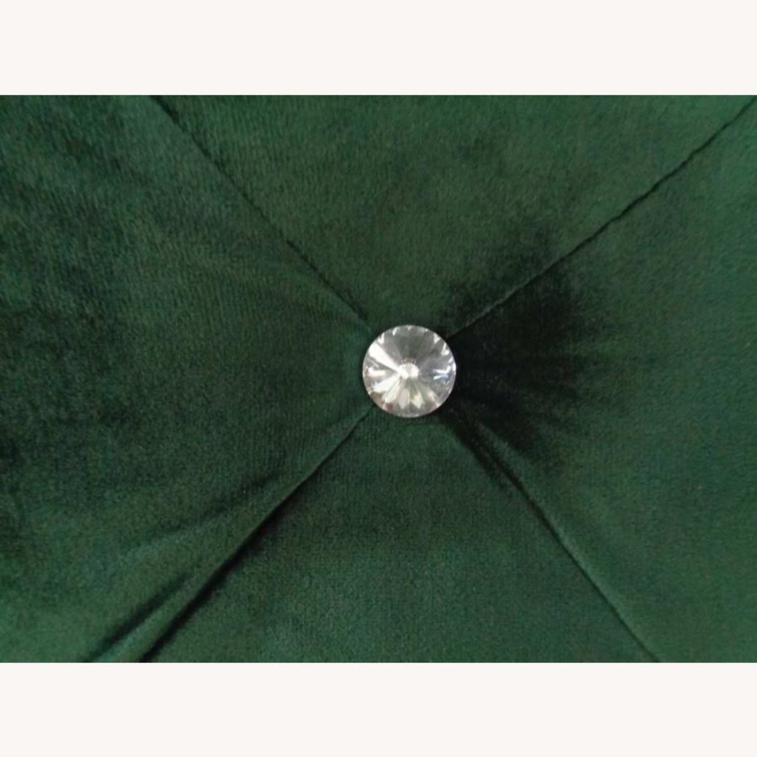 Queen Bed In Green Velvet W/ Faux Crystal Button - image-3