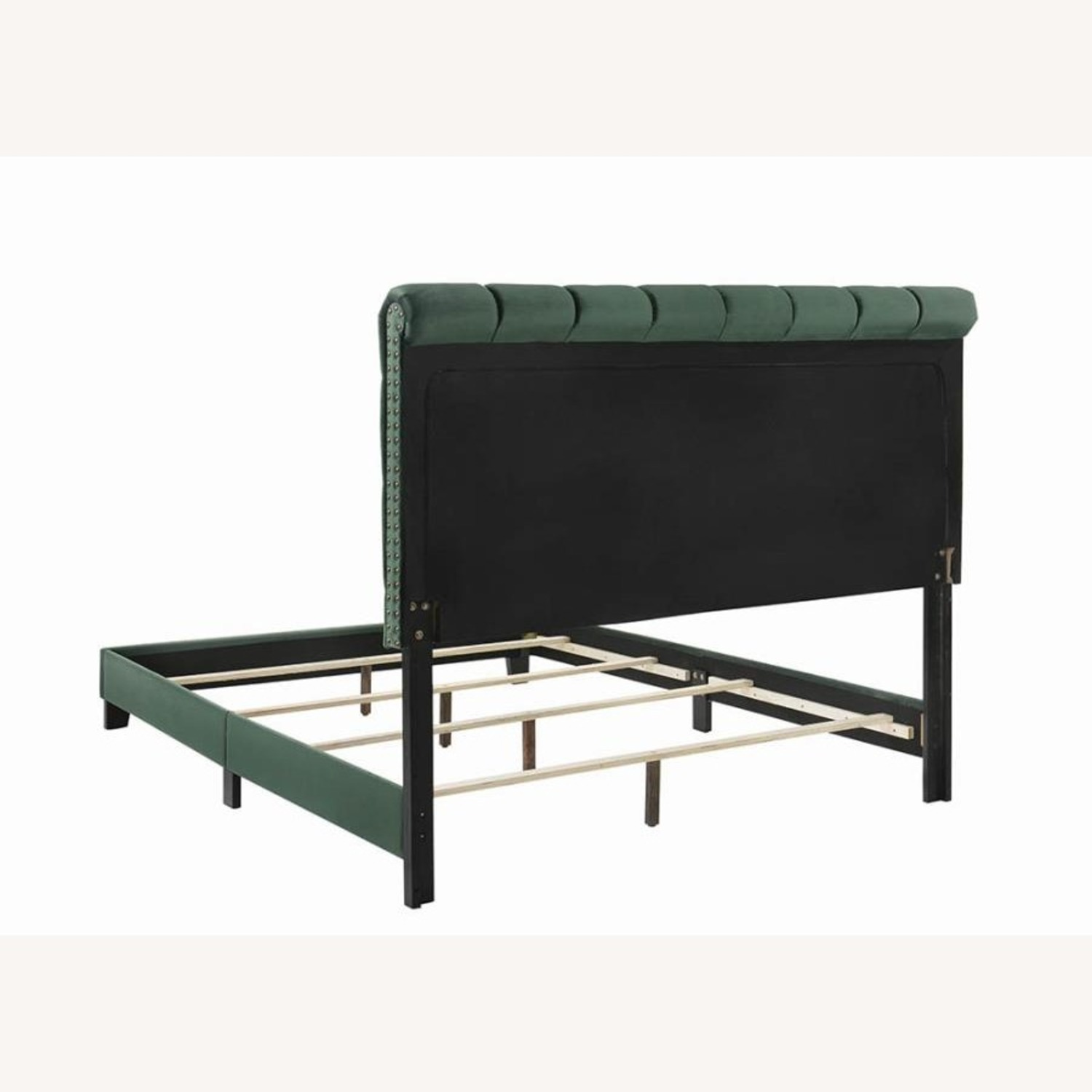 Queen Bed In Green Velvet W/ Faux Crystal Button - image-2
