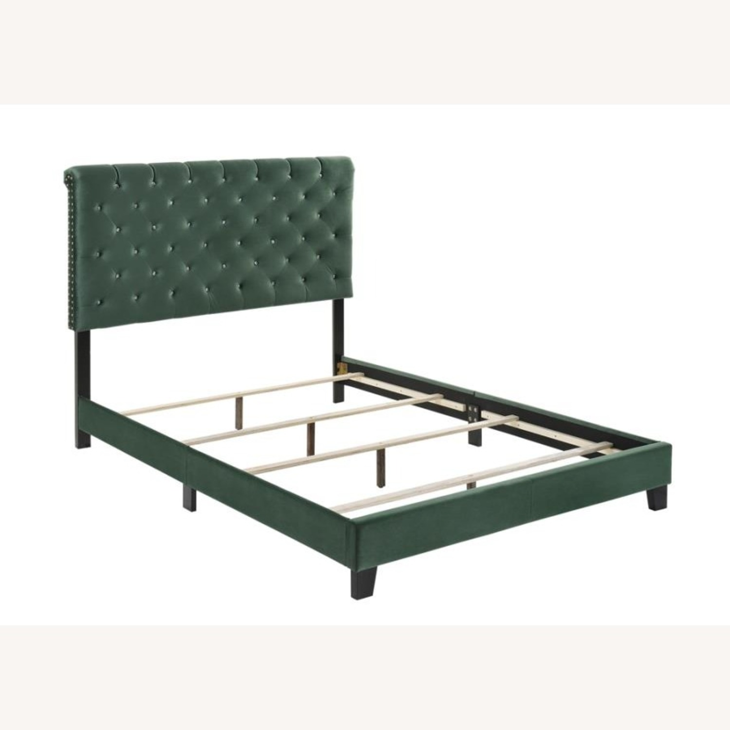Queen Bed In Green Velvet W/ Faux Crystal Button - image-1