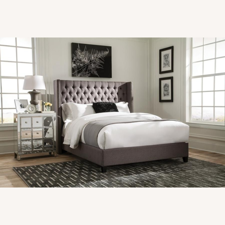 Full Bed In Grey Fabric W/ Bronze Nailhead Trim - image-4