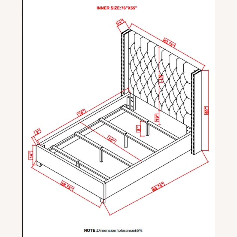 Full Bed In Grey Fabric W/ Bronze Nailhead Trim - image-5