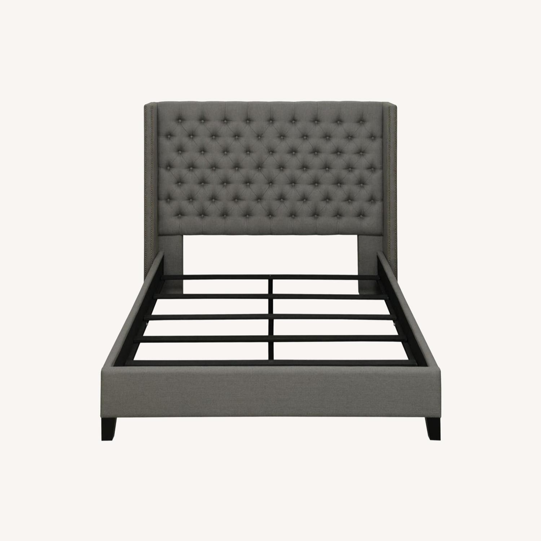 Full Bed In Grey Fabric W/ Bronze Nailhead Trim - image-6