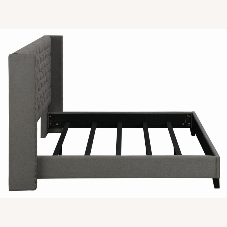 Full Bed In Grey Fabric W/ Bronze Nailhead Trim - image-2