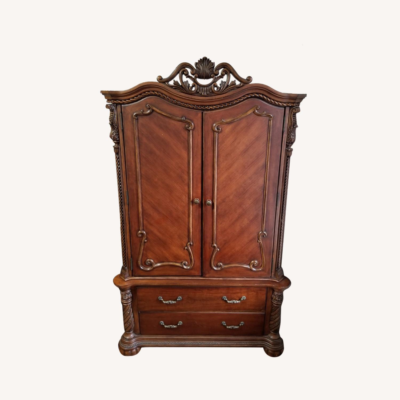 Cherry Brown Wooden Wardrobe - image-0