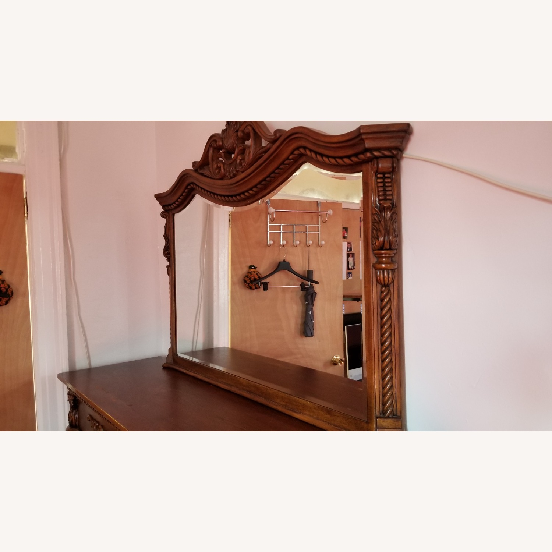 Cherry Brown Wood Mirror - image-1
