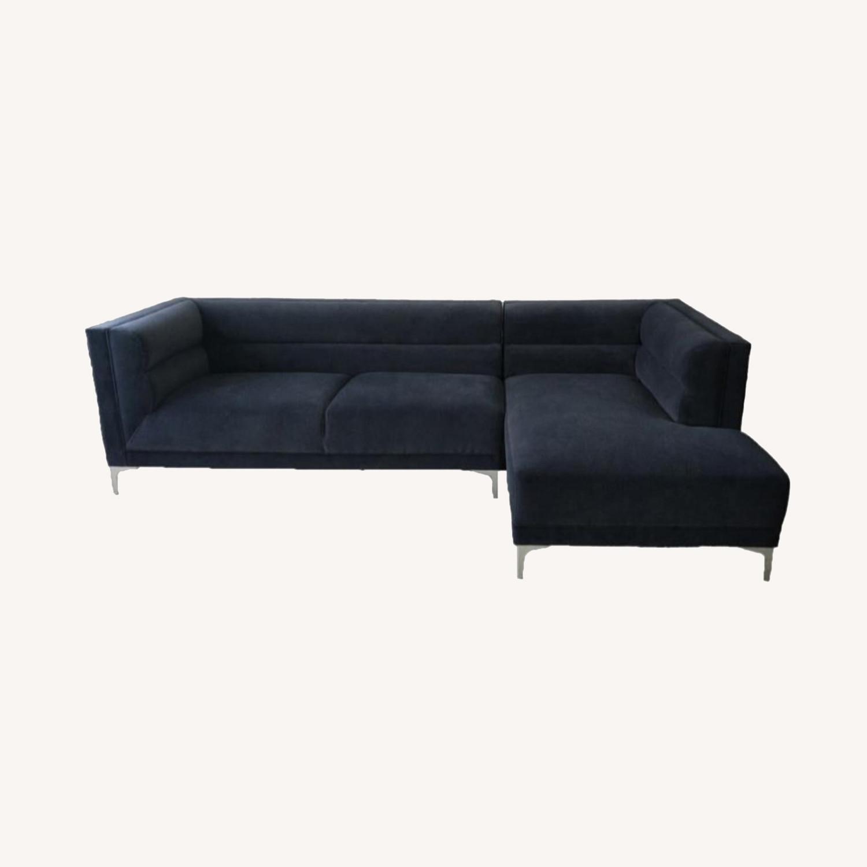 Modern 2-Piece Sectional In Indigo Velvet Finish - image-7