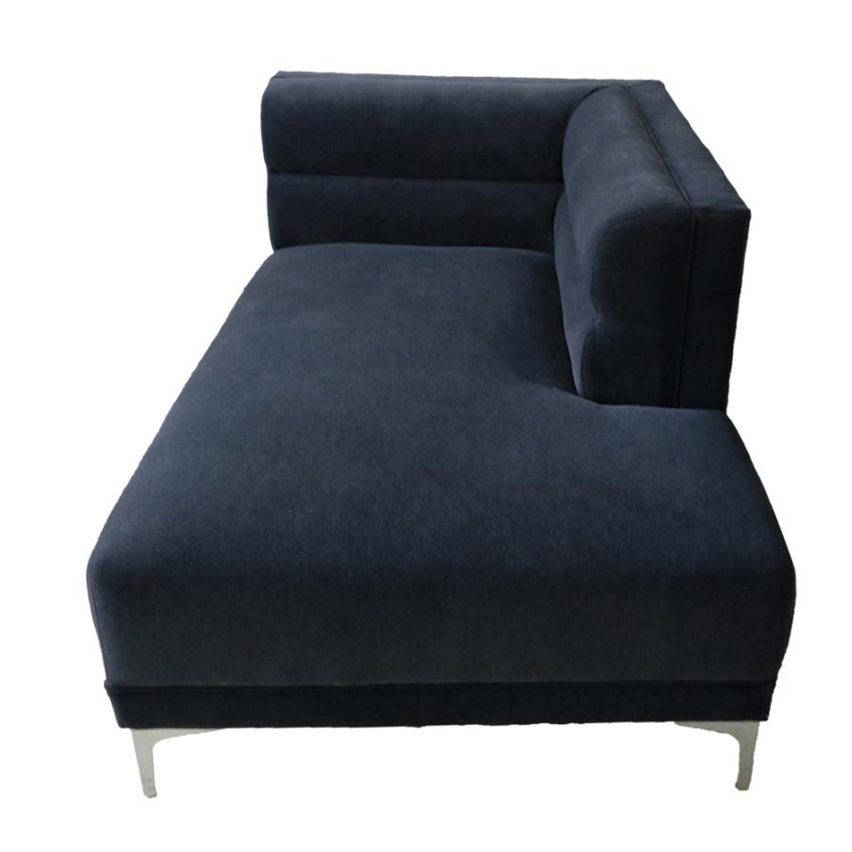 Modern 2-Piece Sectional In Indigo Velvet Finish - image-4