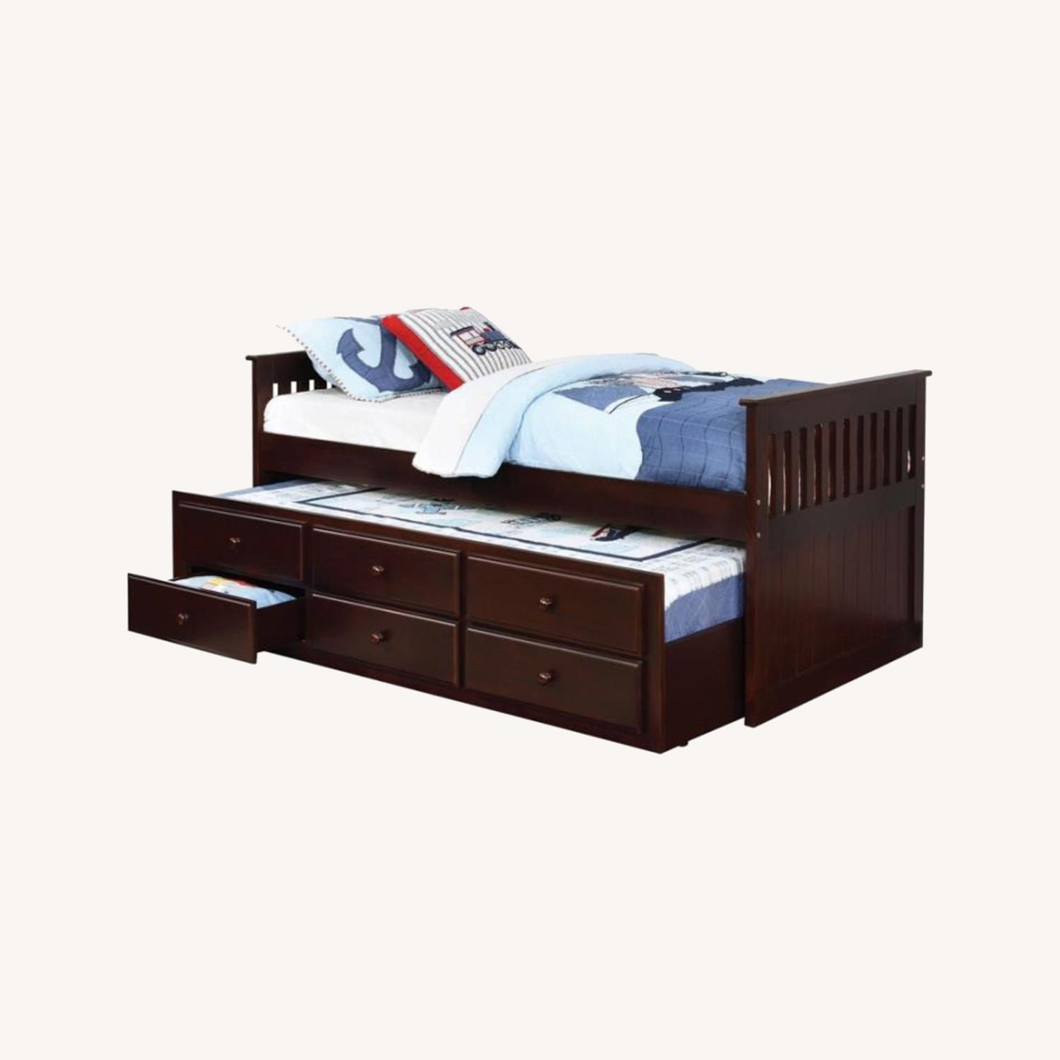 Twin Bed W/ Storage Trundle In Cappuccino Finish - image-4
