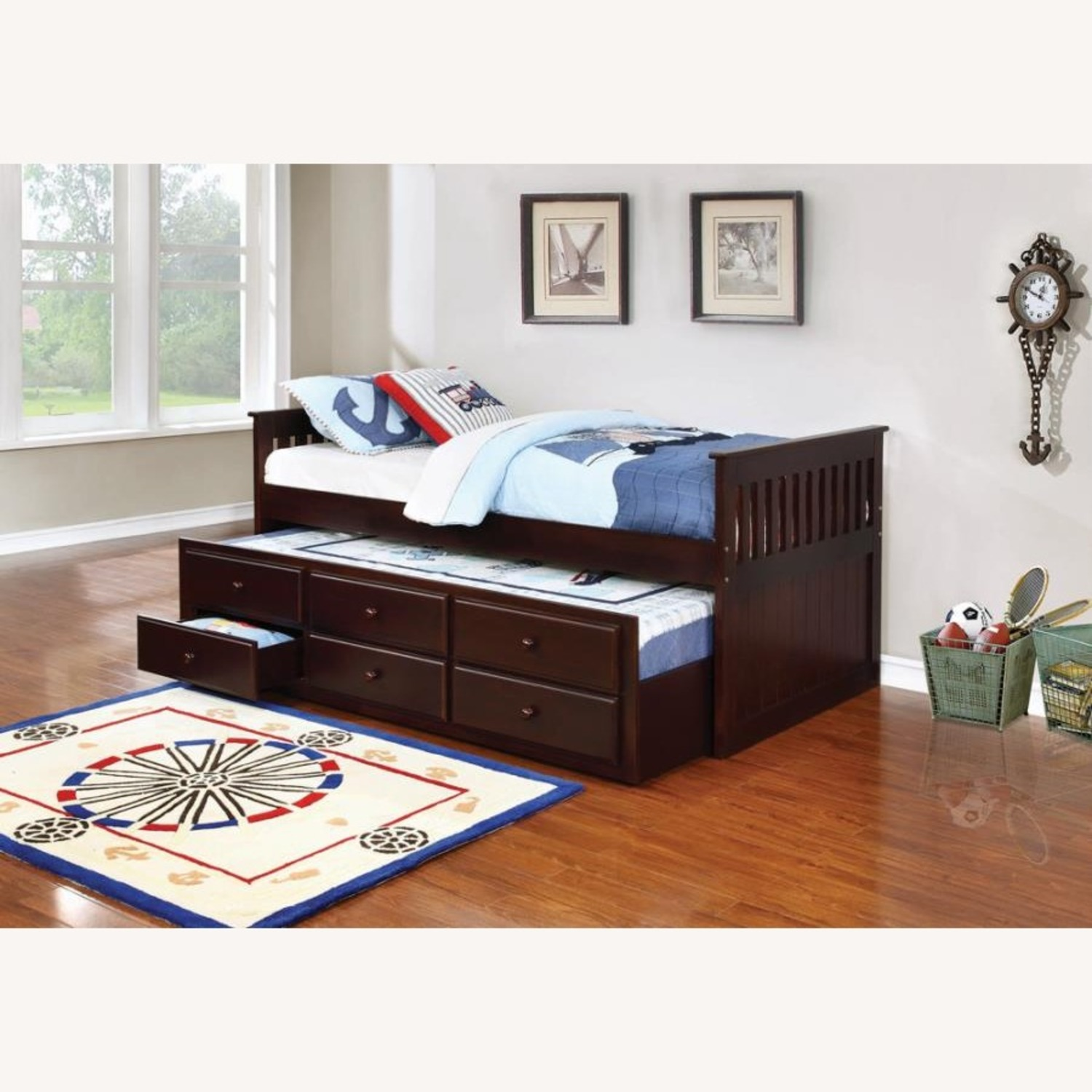 Twin Bed W/ Storage Trundle In Cappuccino Finish - image-2
