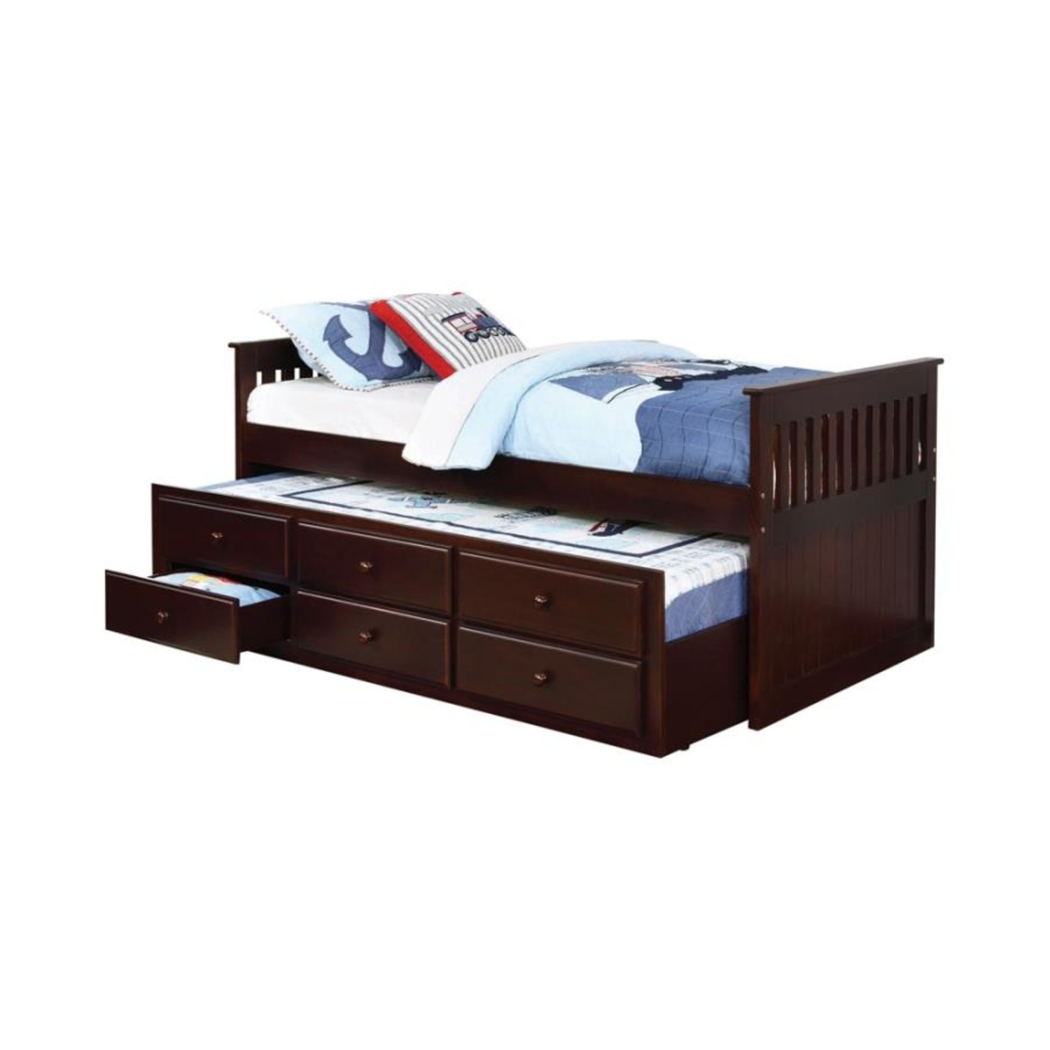 Twin Bed W/ Storage Trundle In Cappuccino Finish - image-0