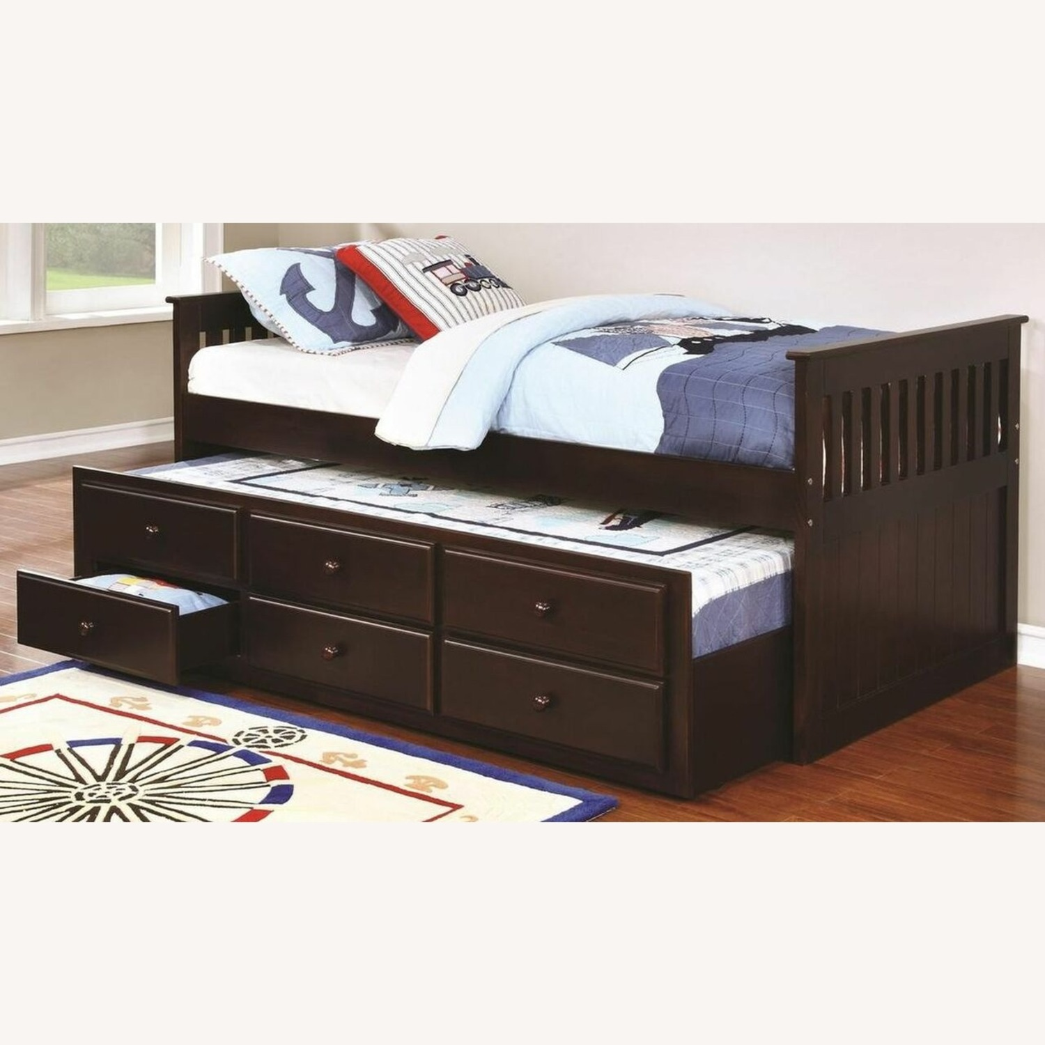 Twin Bed W/ Storage Trundle In Cappuccino Finish - image-1