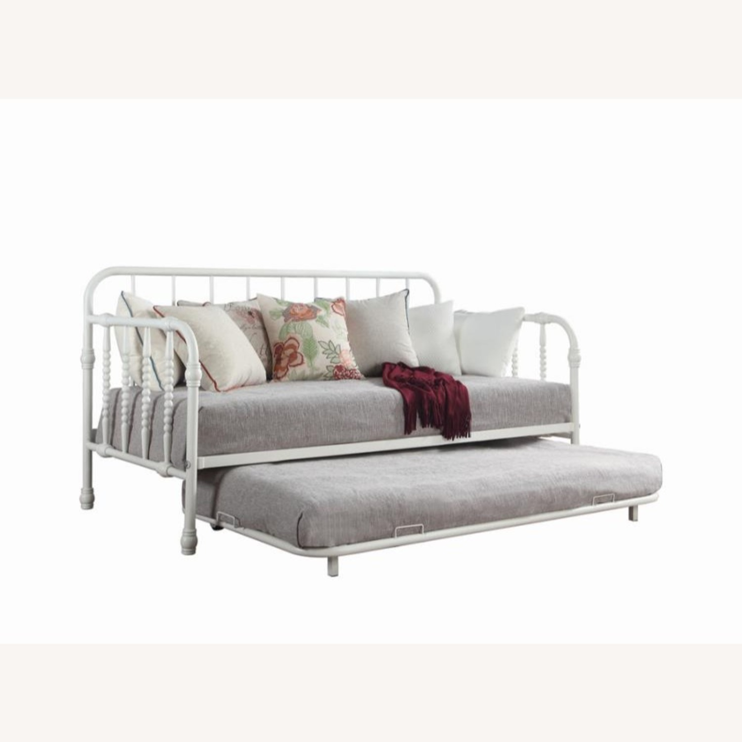 Twin Daybed W/ Trundle In White Steel Tubing - image-1